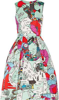 Mary Katrantzou Astere printed satin dress  |  ≼❃≽  @kimludcom