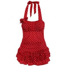 Stylish Women's Halter Neck Backless Polka Dot Flounce One-Piece Swimsuit
