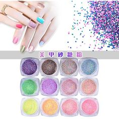 Alonea 12pc Nail Art Colorful Sugar Sequins Fluorescent Pearl Powder Nail Decoration >>> Find out more about the great product at the image link. (This is an affiliate link) #NailArtAccessories
