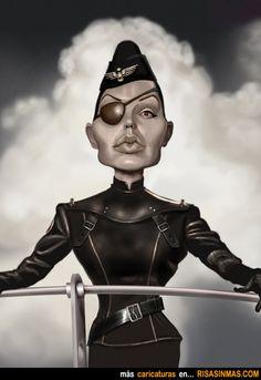 Caricatura de Angelina Jolie en SKY CAPTAIN.