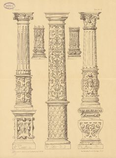 This type of teaching has often omitted great historical narratives and concentrated mainly on the Occidental world. Sacred Architecture, Architecture Antique, Architecture Drawings, Historical Architecture, Architecture Details, Pillar Design, Greek Art, Detailed Drawings, Ornaments Design