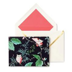 """kate spade new york birch way notecard set Offer warm greetings to your friends and loved ones with this vibrant notecard that showcases a lovely woodland graphics and comes with a matching gold tone accented envelope. 5.75"""" W X 4.25"""" L X 1"""" H Card stock/paper 10 cards/10 envelopes"""