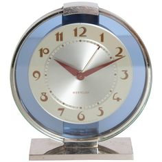 Machine Age Art Deco Westclox Desk Clock Chrome with Cobalt Glass   From a unique collection of antique and modern clocks at https://www.1stdibs.com/furniture/decorative-objects/clocks/