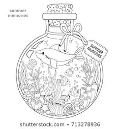 Vector Coloring book for adults. A glass vessel with memories of summer. A bottle with sea creatures - a shark, tropical fish, nemo fish, jellyfish, corals and seashells. : compre este vector en Shutterstock y encuentre otras imágenes. Coloring Book Pages, Printable Coloring Pages, Coloring Sheets, Colouring Pages For Adults, Ocean Coloring Pages, Colorful Drawings, Colorful Pictures, Coloring For Kids, Free Coloring
