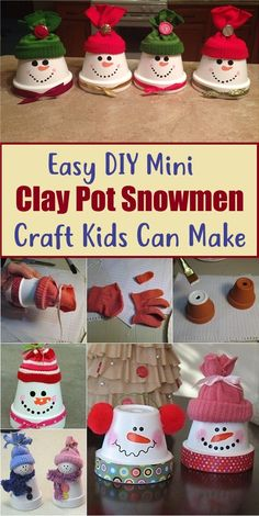 Easy DIY Mini Clay Pot Snowmen Craft Kids Can Make - - Hobbies paining body for kids and adult Clay Crafts For Kids, Crafts For Seniors, Clay Pot Crafts, Winter Crafts For Kids, Easy Diy Crafts, Craft Kids, Kids Clay, Diy Christmas Videos, Christmas Paper