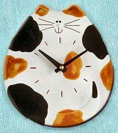 Funny Face Cat Clock #6-C412