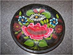 Mexican batea bowl, hand painted wooden bowl.