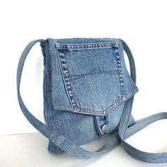 Borsa a tracolla piccola borsa riciclata jean blu di Sisoibags