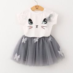 Bear Leader Girls Clothing Sets New Summer Fashion Style Cartoon Kitten Printed T-Shirts+Net Veil Dress Girls Clothes Sets – Kid Shop Global – Kids & Baby Shop Online – baby & kids clothing, toys for baby & kid - kids cartoon Fashion Kids, Fashion Clothes, Fashion Outfits, Fashion Dolls, Fashion Fashion, Fashion Women, Fashion Shoes, Fashion Trends, Kids Mode