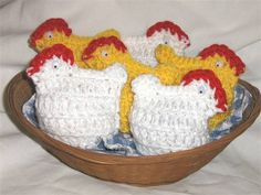 These cute little crocheted chickens slip over hard boiled eggs or plastic eggs