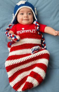 Patriotic Baby Cocoon & Hat Free Crochet Pattern from Red Heart Yarns