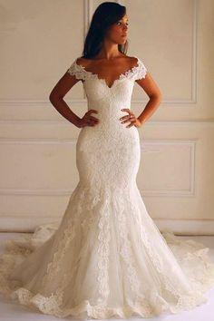 Court Train Short Sleeves Mermaid Lace Wedding Dress With Appliques TN0060 #weddingdress