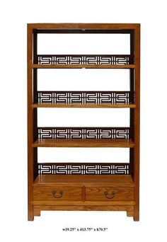 You are looking at a Chinese handmade old solid elm wood book shelf. This book shelf has charming natural light brown color. There are 4 shelves and two drawers at the bottom.   This is the traditional design with Chinese character Happiness carving on the sides.    It can also be a unique display cabinet for your living room.