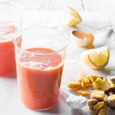Fresh ginger and turmeric make this watermelon smoothie recipe a super-trendy and healthy drink.