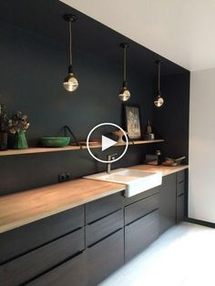 New Ideas Kitchen Wall Ideas White Cabinets Black Kitchen Cabinets, Painting Kitchen Cabinets, Wood Cabinets, Kitchen Wood, White Cabinets, Kitchen Walls, Kitchen Modern, Kitchen Decor, Ikea Kitchen Design