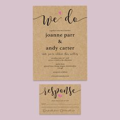 Rustic floral wedding invitation set. A simple, no fuss design. Printed onto high quality kraft brown card 300gsm, this design is fully customisable to include your own names, choice of words and dates etc.