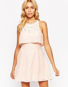 Image 1 of ASOS Embellished Crop Top Skater Dress
