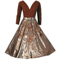 Preowned 1950's Sequin Metallic-gold Lame & Wool Circle-skirt Party... ($525) ❤ liked on Polyvore featuring dresses, vintage, brown, long sleeve sparkle dress, vintage circle skirt, vintage sequin dress, sparkly dresses and long sleeve dress