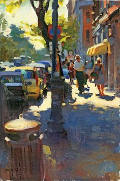 - pin: ~ by Rosie ~Our theme today is Street Scenes (this one is by Kim English) Urban Painting, City Painting, Figure Painting, Kim English, Urban Landscape, Abstract Landscape, Landscape Paintings, Landscape Prints, Paintings I Love
