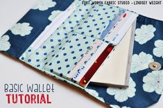 Fort Worth Fabric Studio: Basic Wallet Tutorial Best Picture For diy wallet ideas For Your Taste You Diy Wallet Tutorial, Coin Purse Tutorial, Zipper Pouch Tutorial, Bag Patterns To Sew, Sewing Patterns Free, Sewing Tutorials, Sewing Projects, Tutorial Sewing, Free Sewing