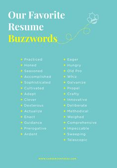Adjectives nouns and action verbs oh my! Next time you're zhuzhing up your resume here's a great list of resume words to color your resumeand some to avoid. Resume Advice, Resume Writing Tips, Resume Help, Resume Skills, Job Resume, Career Advice, Resume Ideas, Career Success, Resume Adjectives
