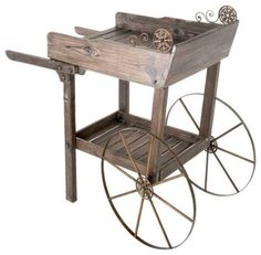 Genial Wooden Garden Rolling Cart   Decorate A Garden. When You Want To Make  Something Different