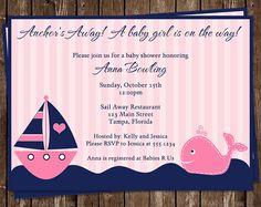 Nautical Baby Shower Invitations Girls Whale by TheInviteLadyShop