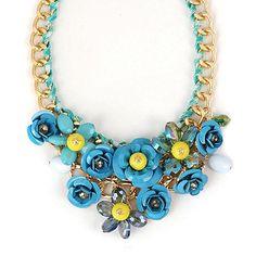 Blue Flower Gemstone Decorated Design Alloy Fashion Necklaces