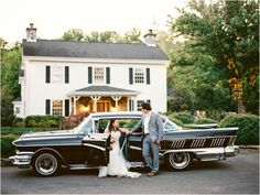 Love this bride and groom with the antique car from Music in Motion Knoxville - click to view more from this wedding at @Dara's Garden in Knoxville TN!