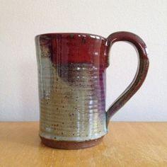 Deep Red Ceramic Mug dark red maroon and pale green by TheLuluBird, $20.00