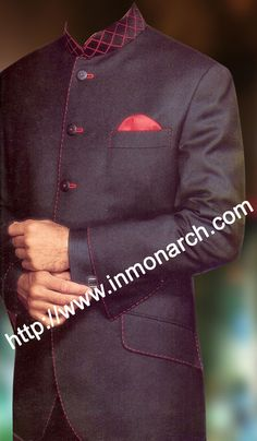 Modern look 5 button three piece with Nehru collar shirt inside traditional Nehru suit made from 65% polyester and 35% merino wool. It has red color threading at nehru collar, front edges, sleeves cuff, chest pocket and on bottom pocket flaps. The bottom of the jacket is round. The button holes are made from red fabric. We are using various fabrics for this Nehru suit. Sold as a