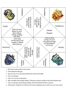 Harry Potter toys and games -- Hogwarts Cootie Catcher