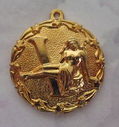 vintage casted gold tone Virgo charm 23mm - f2567