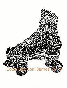 Roller Skating Art Pen and Ink Illustration, Roller Skate Typography Calligram Word Art, Roller Derby Art print