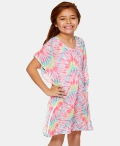 9f70e9fa48 Summer Crush Big Girls Tie-Dyed Cover-Up Tunic - Mlt-multi M