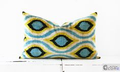 Silk Velvet Ikat Pillow 16x 24 - for bed