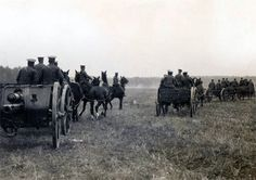 Battery of British Royal Field Artillery 18 pounder field guns moving up during the Battle of Le Cateau, 1914. The Battle was fought on 26 August, after the British and French retreated from the  Battle of Mons and had set up defensive positions in a fighting withdrawal against German advance at Le Cateau-Cambresis.
