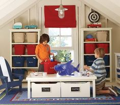 boys playroom...I would love to finish our attic and do this!