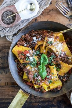 Handmade Pappardelle with Wild Mushroom Bolognese + Giveaway - Ciao Chow Bambina Pasta Recipes, Real Food Recipes, Dinner Recipes, Healthy Recipes, Noodle Recipes, Delicious Recipes, Dinner Ideas, Tasty, Pot Pasta