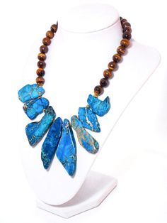Blue Imperial Jasper, Brown Tigers Eye, Gold Plated Chunky Bold Bib Statement Necklace by KMagnifiqueDesigns on Etsy