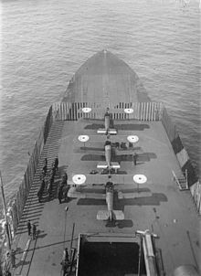Sopwith Camels on HMS Furious' forward flying-off deck during the First World War