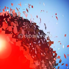 Red 3D ball exploded into pieces — Stock Illustration #90480948