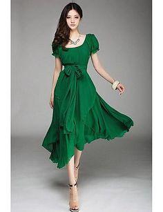 De las mujeres Tallas Grandes Vestido Vintage Un Color Midi Escote en U Poliéster 1351332 2016 – $16.99
