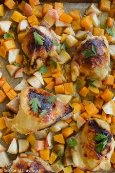 Sheet Pan Chicken With Butternut Squash - easy, peasy!  Sign up for easy, healthy recipes at http://eepurl.com/bgGhFT