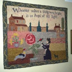 """Hand dyed wool 39x36"""" primitive rug, hooked and designed by Becki Carpenter."""