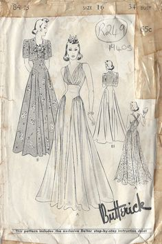 1940s Vintage Sewing Pattern DRESS & JACKET B34 R249 by tvpstore