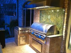 Gas Grill And Wok W Granite And Led Lights