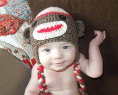 Sock Money Baby Knit Hat Ear Flap Crochet 3 by HippityHoppityHats, $22.00