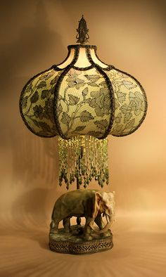 Gorgeous, Czechoslovakian, AMPHORA Elephant Statuette, French Mounted On A  Velvet Topped, Gold Metal Filigree Base As A Table Lamp. The Matte  Olive Green ...
