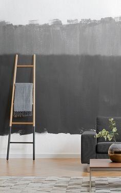 Our modern Altitude Grey Wallpaper Mural design is a unique hand-painted mural with a versatile grey paint style. Grey Wallpaper, Modern Wallpaper, Commercial Office Design, New Room, Interior Gris, Light In The Dark, Ladder Decor, Decoration, House Design